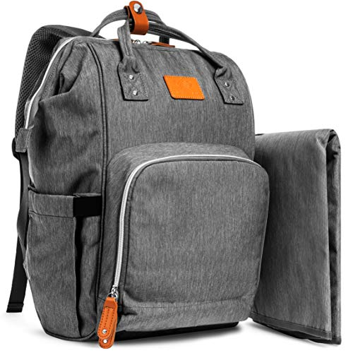 - Grey Large Capacity Diaper Bag Backpack for Mom/Dad, YumYum Love Unisex Stylish Multifunctional Travel Pack Maternity Baby Diaper Backpacks, Insulated Pockets, Lightweight, Waterproof, Changing Pad