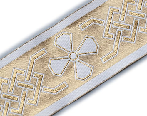 Wide Jacquard Trim. Celtic Church Gold on White. 3¾