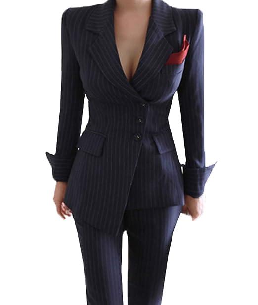 56814f4e8e518 YSMO Women's Slim Stripe Suits 2-Piece Blazer and Pants Suit Set ...