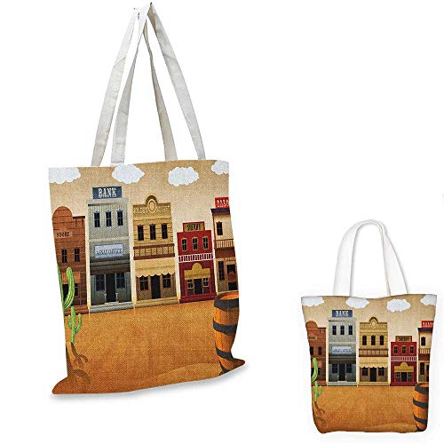 American shopping tote bag Wild West Scenery Village Old Town Texas Cowboy States Nostalgic Illustration travel shopping bag Multicolor. 12