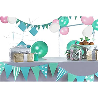 Treasures Gifted Boho Girl 1st Birthday Decorations White Turquoise Pink Balloons Mint Green White Peach Paper Pom Poms 40 Inch Jumbo Foil Number 1 Balloons: Toys & Games