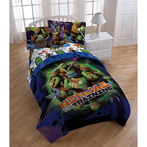 (2 Piece Kids Teenage Mutant Ninja Turtles Comforter Twin Set, Boys Blue Purple Green TMNT Themed Bedding Leonardo Raphael Michael Angelo Donatello Character Ninja Training Graphic Pattern,)
