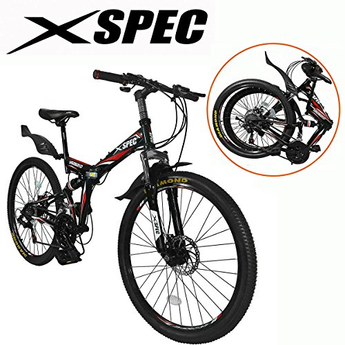 "Xspec 26"" 21 Speed Folding Mountain Bike Bicycle Trail Commuter Shimano Black- for Adults/Men & Women"
