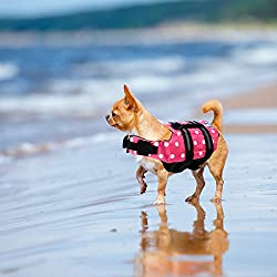 Yosoo Swimming Water Pet Life Jacket Life Preserver Vest Saver Pet Dog Saver Life Vest Coat Floatation Float Life Jacket Aid Buoyancy for Doggy Puppy Neon Hound Safety Aquatic Saver (S, Rose)