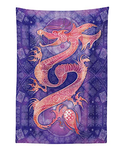 Lunarable Dragon Tapestry, Chinese with Ying Yang Signs Patterns Arts Meditation Themed, Fabric Wall Hanging Decor for Bedroom Living Room Dorm, 30