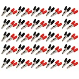 uxcell Plastic Handle Insulate Power Test Lead Alligator Clip Clamp 50pcs