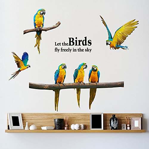 Doitsa 1 Pcs Wall Stickers Parrot Nature Design Removable Personality Decal Mural for Office Home Bedroom Balcony…