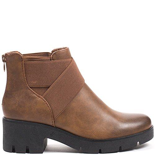 Ideal Shoes, Damen Stiefel & Stiefeletten Camel