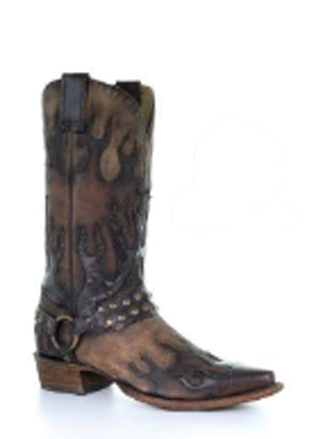 0a56df05e98 Amazon.com | CORRAL Mens Taupe Harness Flames Overlay Western Boot ...