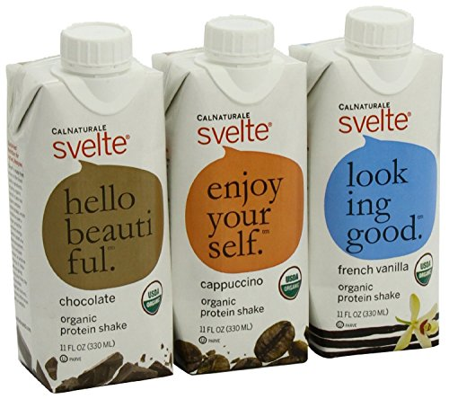 CalNaturale Svelte Organic Protein Shake, Variety Pack, 11 Ounce Aseptic Boxes (jumbo pack of 48) by CalNaturale