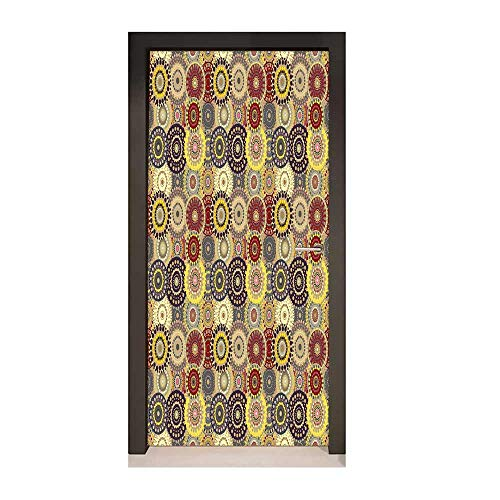 Homesonne Hippie 3D Door Wallpaper Vintage Pattern with Vivid Colorful Painted Circles and Dots Ethnic Seventies Style Art Door Decals Multicolor,W17.1xH78.7 ()