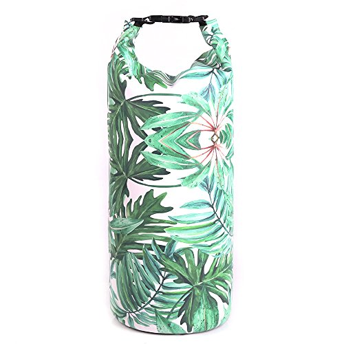 UrbanMover Dry Bag Waterproof Dry Backpack Compression Roll Top Sack for Women Girls Green Leaves Pattern Unique 20L Floating Kayaking Boating Rafting Diving Surfing Gym Yoga Swimming Motorcycle