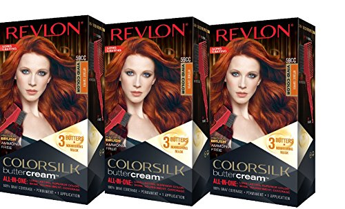 Revlon Colorsilk Buttercream Hair Dye, Vivid Intense Copper, 3 Count
