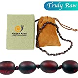 Raw Baltic Amber Teething Necklace for Baby (Unisex - Raw Cherry - 12.5 Inches), 100% Authentic...