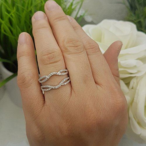 Dazzlingrock Collection 0.35 Carat (ctw) 10K White Diamond Wedding Band Enhancer Guard Double Ring 1/3 CT, White Gold, Size 6.5 by Dazzlingrock Collection (Image #5)