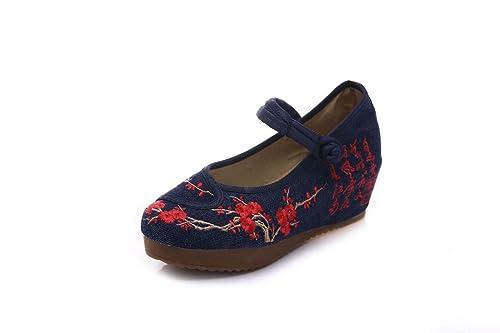 Bordado Zapatos/Alpargatas/ Merceditas/Zapatos Chinos de Tela de Viento, Azul Marino