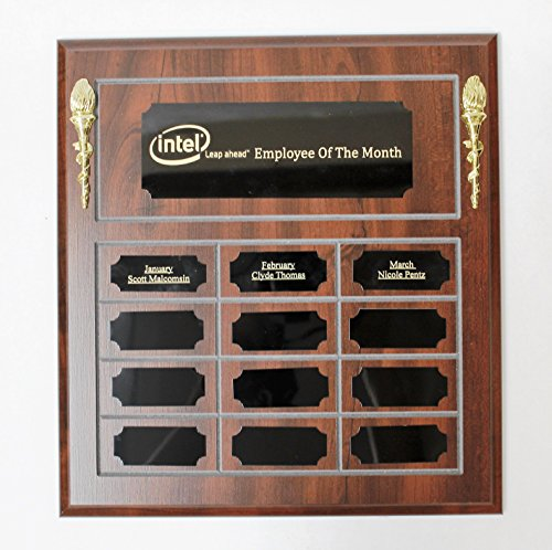 - Employee Of The Month Perpetual Plaque, Wooden Plaque, Engraving Included