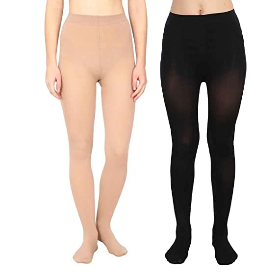 5ab24e744 Devil Girl Pack of 2 High Waist Stockings Super Fine Fiber Excellent  Stretch Sheer Tights Long Comfort Super Soft Pantyhose Black and Skin   Amazon.in  ...