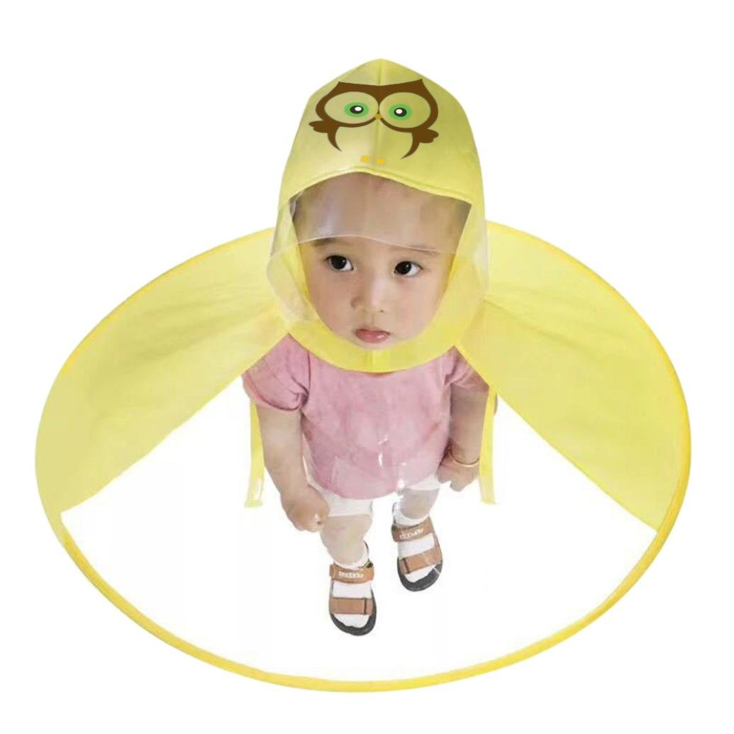 ASHOP - Impermeabile Poncho Impermeabilei Bambin Simpatico Impermeabile Antipioggia per Bambini Cappello da Pioggia UFO