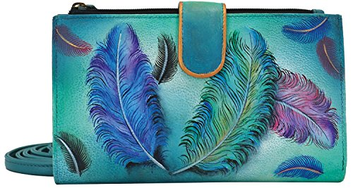 Anuschka Hand Painted Large Smartphone Case & Wallet Floating Feathers Wallet, Fft-Floating Feathers, One Size by Anna by Anuschka