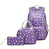 Goldwheat Girls School Backpacks with Lunch Bag and Pencil Case Kids Pawprint Bookbag 3 in 1 (Purple)