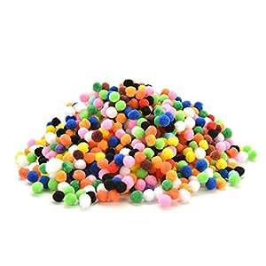 JETTINGBUY 1000pcs Assorted Mixed Color Soft Fluffy Pom Poms Pompoms