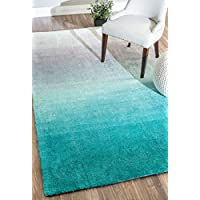 Handmade Soft and Plush Ombre Shag Area Rugs, 5' x 8', Turquoise