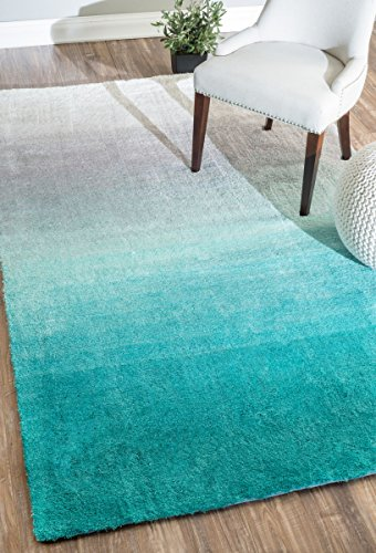 nuLOOM HJOS02A Hand Tufted Ombre Shag Rug, 8' x 10', Turquoise