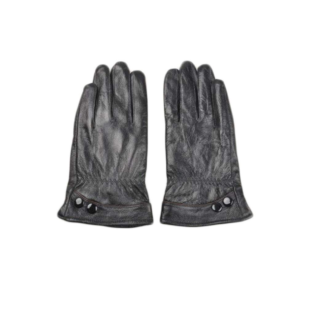 Leather Gloves, Warm Cycling Gloves, Short Men's Touch Screen Gloves