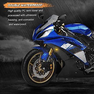 NTHREEAUTO Smoked Flush Mount LED Turn Signal Light Compatible with Yamaha YZF R1 R6 R6S, 12V Universal Motorcycle Indicators: Automotive