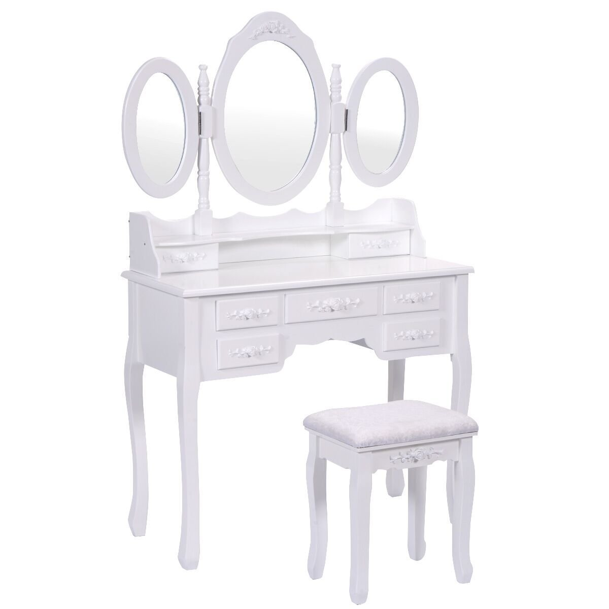Vanimeu, Tri-folding Oval Mirror Wood Make-up Dressing Table Vanity Desk Padded Stool with 7 Drawers (White)