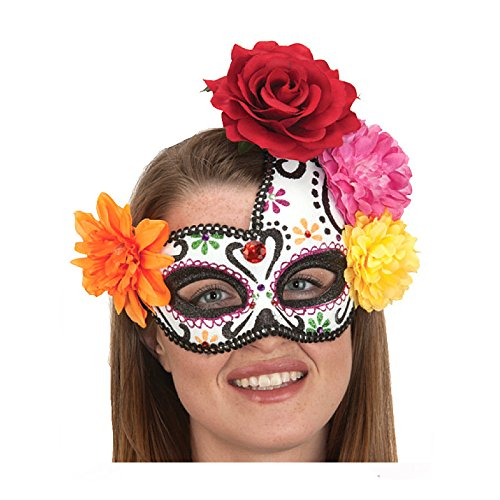 [Ladies Day of the Dead Mask with Flowers] (Womens Day Of The Dead Costume)