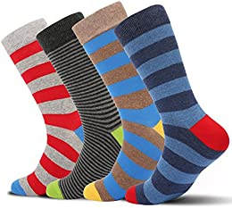 Men's Fashion Colorful Fun Design Casual Cotton Dress Crew Socks 4 Pairs