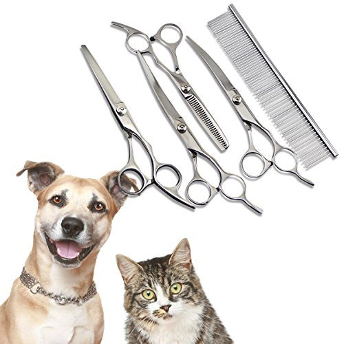 Kangkang@ 5PCS Animals Pet Dog Puppy Cat Grooming Hair Cutting Scissors Set Cerved Thinning Shears Comb Trimmer Clipper Hairdressing Tools