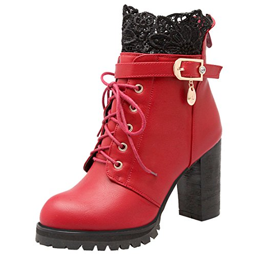 AIYOUMEI Ladies Block Chunky Heel Lace Up Ankle Booties Platform Buckle Boots With High Heels Boots For Girl Red Hp8PkOHYW
