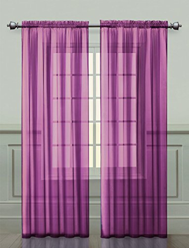 2 Pack: Ultra Luxurious High Thread Rod Pocket Sheer Voile Window Curtains by GoodGram - Assorted Colors (Purple)
