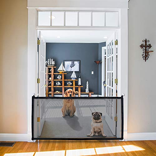 Kejo Pet Gate, Magic Gate, Portable Folding Mesh Guard Pet Safety Gates Baby Safety Fence Safe Guard The House Works as…