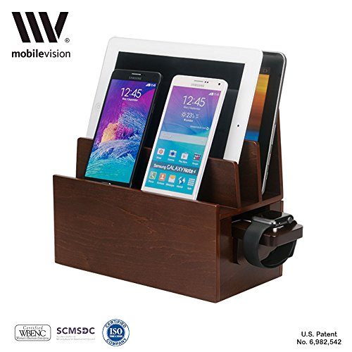 MobileVision Wood Charging Station & Apple Watch Adapter COMBO Multi Device Organizer for Apple Watch, Smartphones, Tablets, Laptops, and more by MobileVision