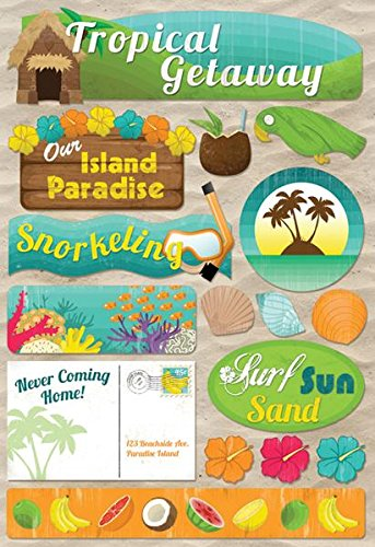 Stickers for tropical vacation, travel and family trip themed scrapbook layouts