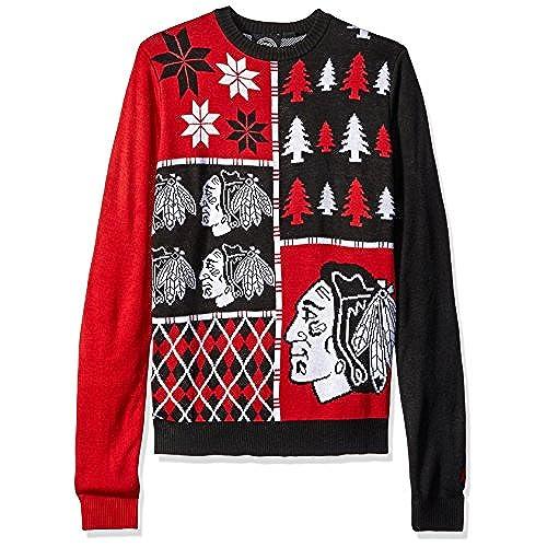 foco chicago blackhawks busy block ugly sweater double extra large - Blackhawks Christmas
