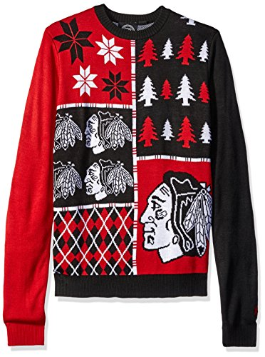 Chicago Blackhawks Busy Block Ugly Sweater Large