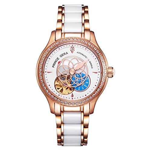 PRINCE GERA Women Luxury Gold Two-tone Ceramic Watch for Ladies Waterproof Automatic Diamonds Dress Watch