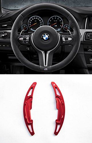Pinalloy Red Alloy Steering Wheel Paddle Shifter Extension For BMW M3 M4 M5 M6 ()