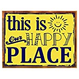 Wood-Framed This Is Our Happy Place Metal Sign, Family, Home Décor, Positive Living on reclaimed, rustic wood Review