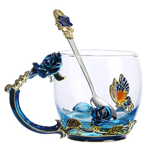 Tea Mug,Coffee Cup with Spoon Set Clear Glass Handmade 3D Enamel Butterfly Flower,Mother's Day,Birthday,Christmas Gift(11 oz)