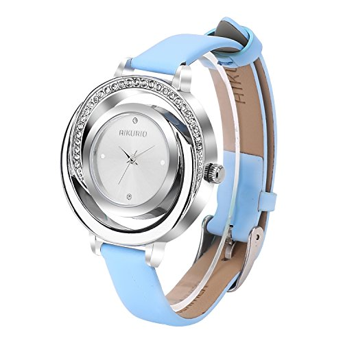 Women Ladies Wrist Watch Waterproof Design with Alloy Case Leather Strap and Japanese Movement (Blue Band&Silve ()