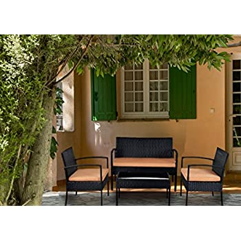 Patio Furniture Set Clearance Dining Set 4 Piece Balcony Outdoor Garden  Rattan Furniture Set Brown Cushioned