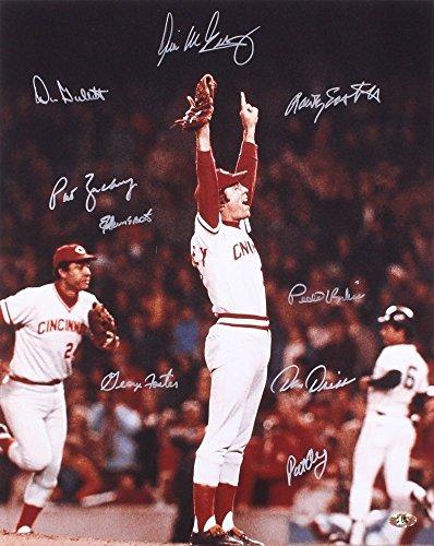 - 1976 Cincinnati Reds Signed 16x20 Photo - 9 Total Signatures! - George Foster, Don Gullett, Pedro Borbon, etc.