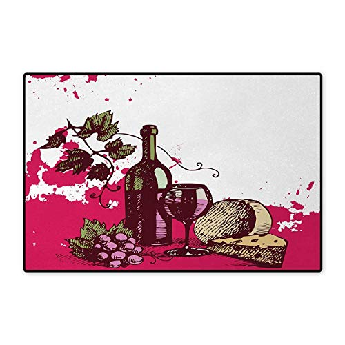 Wine,Bath Mat,Vintage Sketchy Artwork Cheese Alcoholic Drink Fruit Abstract Design,Door Mat Outside,Hot Pink Olive Green Cream 20