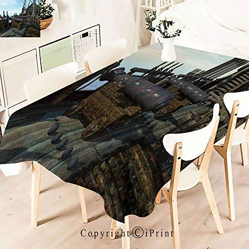 (Premium Polyester Printed Tablecloth,Old Fashion Vintage Wooden Cannon Warship, Idle for Grand Events and Regular Home Use, Machine Washable,W55 xL55,Olive Green Baby Blue )